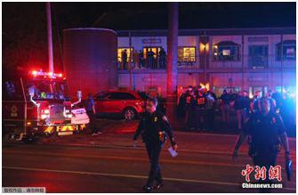 资料图:2018年11月2日,一名男子在美国佛罗里达州一家瑜伽馆开枪打死1人,重伤4人,然后自杀。