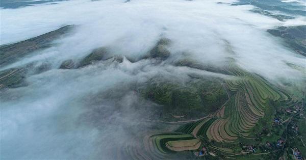 Scenery of Jinjiping terrace park in NW China's Ningxia
