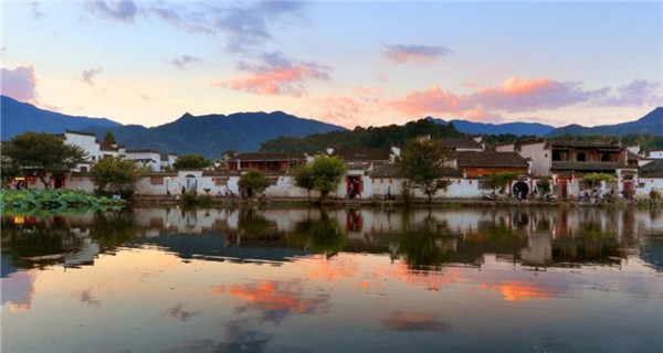 Amazing sunset view in ancient Hongcun Village