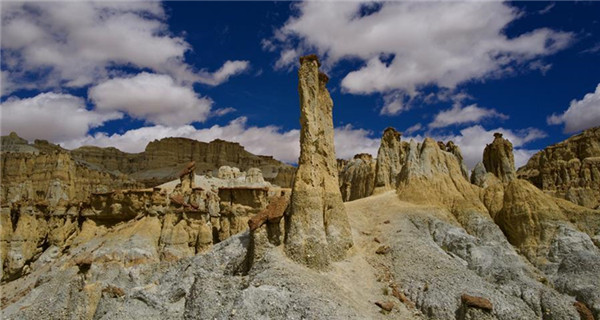 Scenery of Xiayigou Earth Forest in Tibet