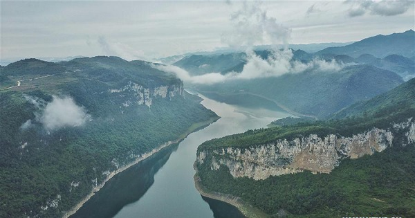 Aerial view of Wujiang River in SW China's Guizhou