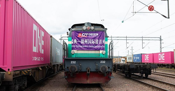 New freight train links China's Ganzhou Port and Sweden