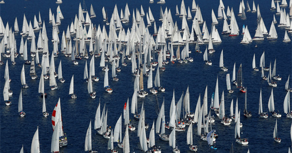 Sailing boats gather for Barcolana regatta