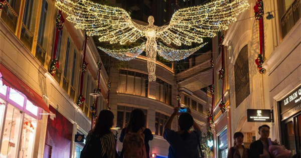Iconic 'Spirit of Christmas' lights up Lee Tung Avenue in Hong Kong