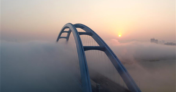 Aerial view of Guantang bridge in Liuzhou, Guangxi