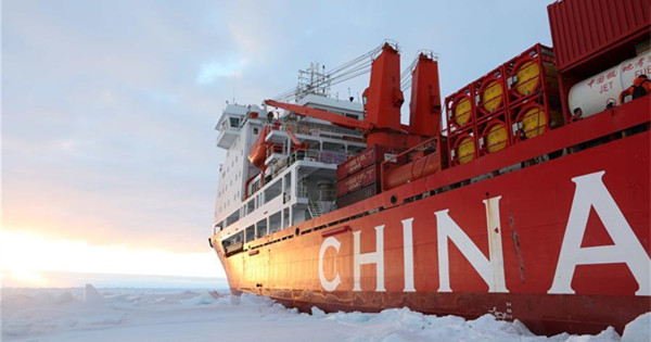 Research icebreaker Xuelong arrives in Zhongshan station in Antarctica