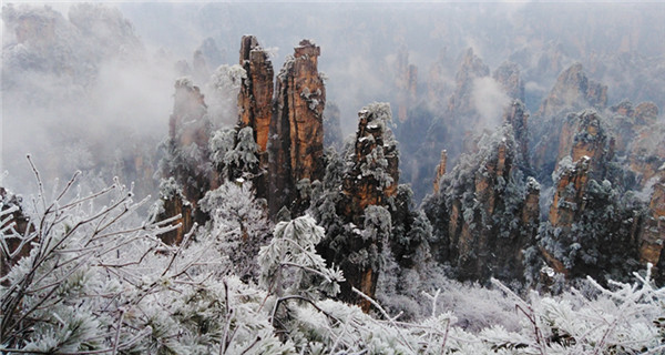 Scenic spot in Hunan becomes ice wonderland