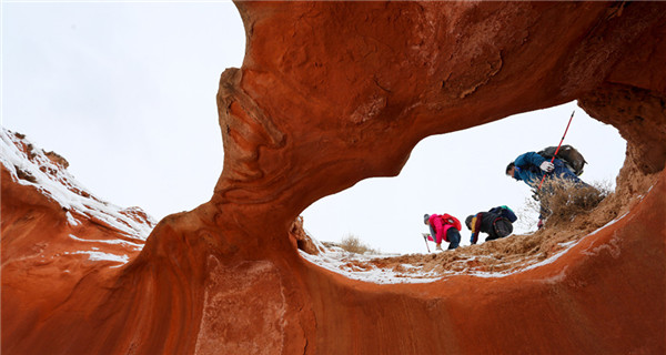 Spectacular Danxia landform in snow