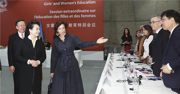 Peng Liyuan attends UNESCO special session on girls