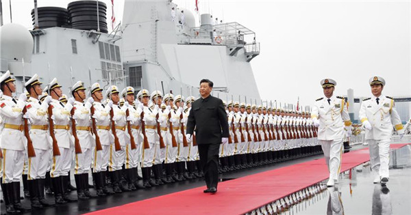 Xi reviews multinational fleet