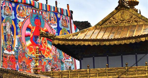 Thangka display ritual held at Tashilhunpo Monastery in Xigaze, Tibet