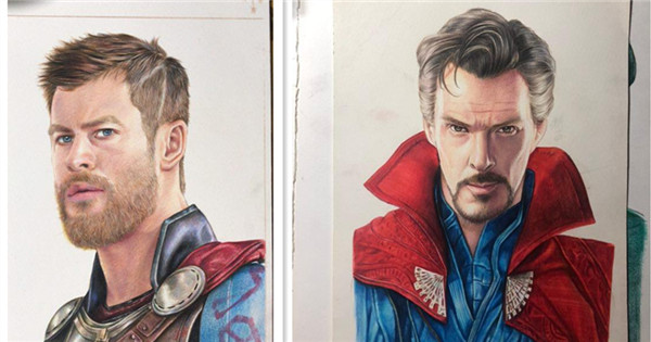 Teacher uses compass to draw Marvel Comics characters