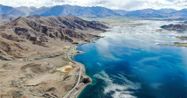 Aerial view of Banggong Co in Ngari Prefecture, Tibet