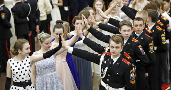 Young cadets enjoy night at annual Kremlin Cadet Ball in Moscow