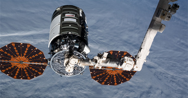 The Cygnus space freighter is attached to the Unity module