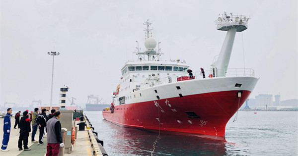 China's research vessel returns to Qingdao after completing western Pacific Ocean expedition