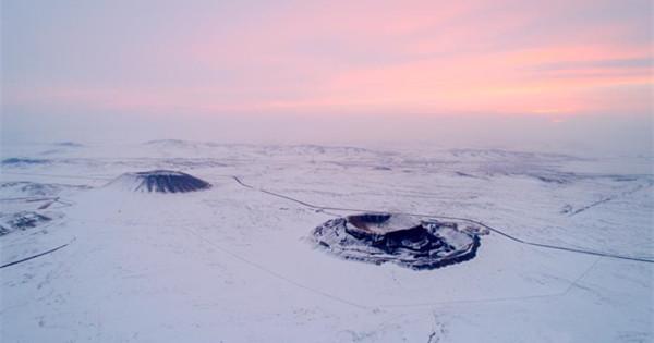 Snow-covered Ulan Hada volcano group