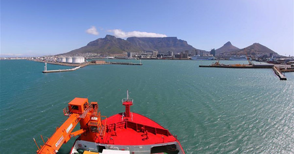 China's polar icebreaker Xuelong 2 seen at port of Cape Town, South Africa