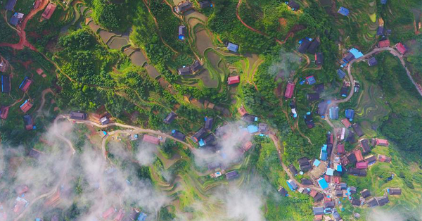 Aerial view of terraced fields in Guangxi