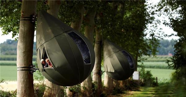 Incredible raindrop shaped tree tents in Belgium