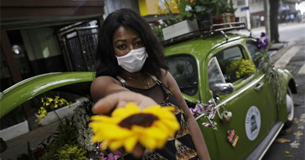 Brazilian woman survives Covid-19 by selling flowers out of her VW Beetle