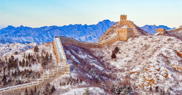Jinshanling Great Wall covered by snowfall