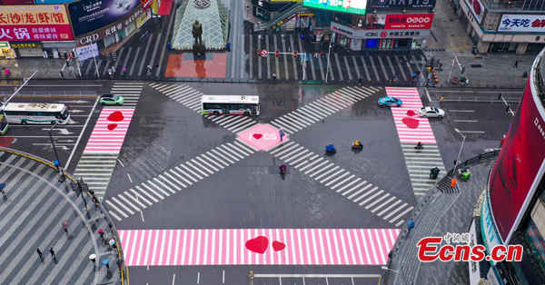 Zebra crossings painted pink to greet International Women's Day