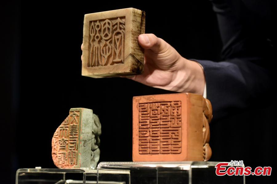 Three imperial seals of Ming and Qing Dynastie displayed at Sotheby's in Hong Kong