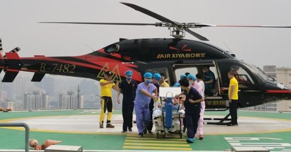 Patients transferred from a flood-hit hospital in Zhengzhou