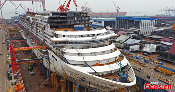 Main hull of China's first large-scale cruise ship to be finished