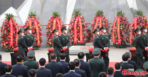 Remains of 109 Chinese martyrs of Korean War laid to rest in Shenyang