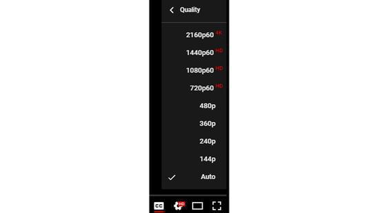 Video quality options on YouTube /Screenshot from YouTube