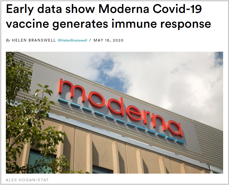 A screenshot taken on May 18, 2020, from the American health-oriented news website STAT shows the title and picture of its latest coverage about the U.S. biotech company Moderna's potential vaccine against the COVID-19. (Xinhua)