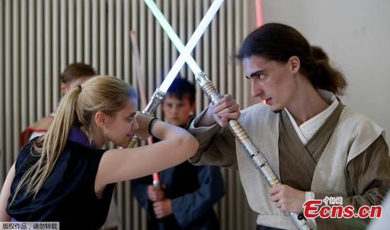Lightsaber duel in German school