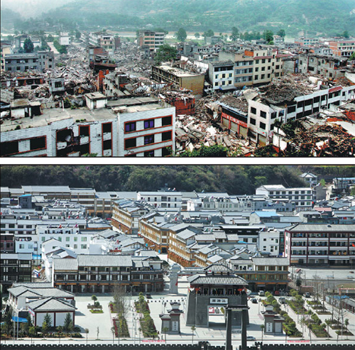 Above: Nanba town in Mianyang on May 16, 2008, after it was destroyed by the Wenchuan earthquake. Below: How the town looks now after being reconstructed. (XIANG YUANMU/FOR CHINA DAILY)