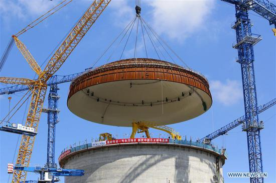 Dome installed on reactor at nuclear power project in Guangxi