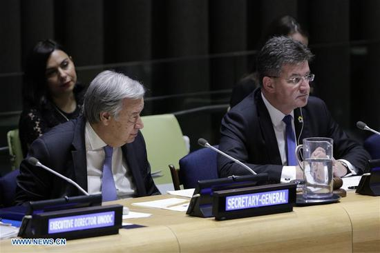 United Nations Secretary-General Antonio Guterres (L, front) and Miroslav Lajcak, president of the 72nd session of the United Nations General Assembly, attend the General Assembly high-level debate to mark the 15th anniversary of the adoption of the UN Convention Against Corruption, at the United Nations headquarters in New York, May 23, 2018. (Xinhua/Li Muzi)