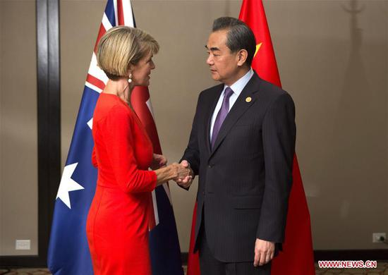 Chinese State Councilor and Foreign Minister Wang Yi (R) meets with Australian Foreign Minister Julie Bishop at her request in Buenos Aires, Argentina, May 21, 2018, on the sidelines of the G20 foreign ministers' meeting. (Xinhua/Martin Zabala)