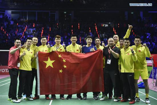 Team China beats team Japan 3-1 to claim Thomas Cup