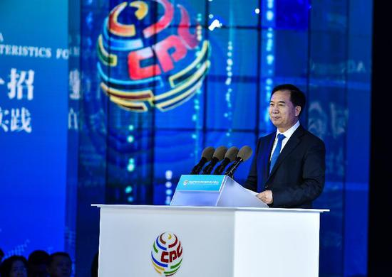 Li Xi, secretary of the Communist Party of China (CPC) Guangdong Provincial Committee,addresses a meeting with the theme