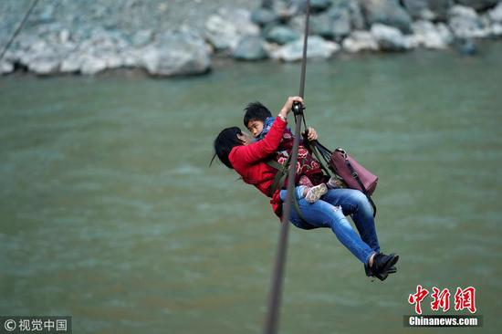 Mountain villagers zip out for errands