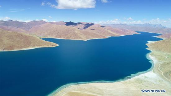 Aerial view of Yamdrok Lake in Tibet