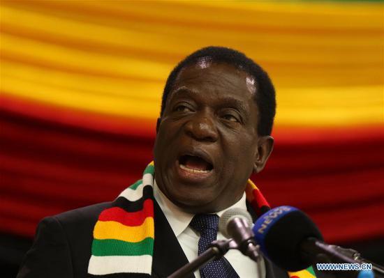 Zimbabwean President Emmerson Mnangagwa addresses a meeting in Harare, Zimbabwe, May 30, 2018. President Emmerson Mnangagwa announced Wednesday that Zimbabwe will hold general elections on July 30. (Xinhua/Shaun Jusa)