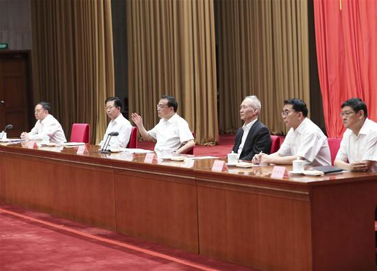 Chinese Premier Li Keqiang (3rd L) delivers a report on economic and social development during the 19th Meeting of the Academicians of the Chinese Academy of Sciences (CAS) and the 14th Meeting of the Academicians of the Chinese Academy of Engineering (CAE) in Beijing, capital of China, May 29, 2018. (Photo/Xinhua)