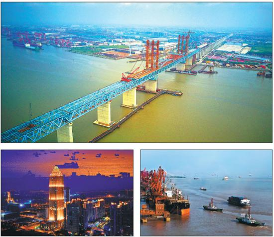 Clockwise from top: The Shanghai-Nantong Bridge under construction. Ships carry goods near a wharf in Nantong. The city shines in the foreground of the Yangtze at night. (Sun Jian/For China Daily)