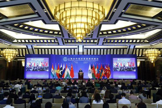 Rashid Alimov, Secretary-General of the Shanghai Cooperation Organization (SCO), addresses the opening ceremony of the first SCO media summit in Beijing, capital of China, June 1, 2018. (Xinhua/Shen Bohan)