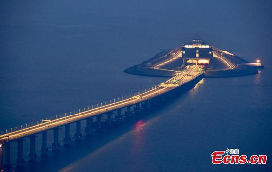 Longest sea bridge at night time