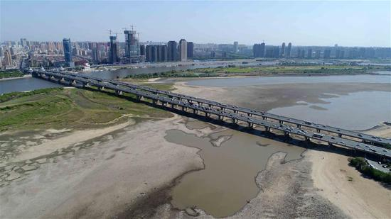 Aerial photos show dry riverbed of Songhua River in Harbin