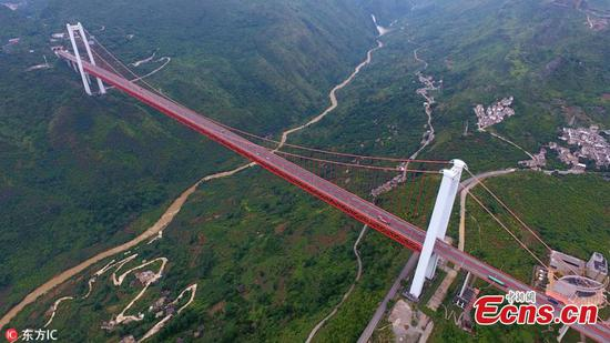 Impressive suspension bridge 370 meters over valley