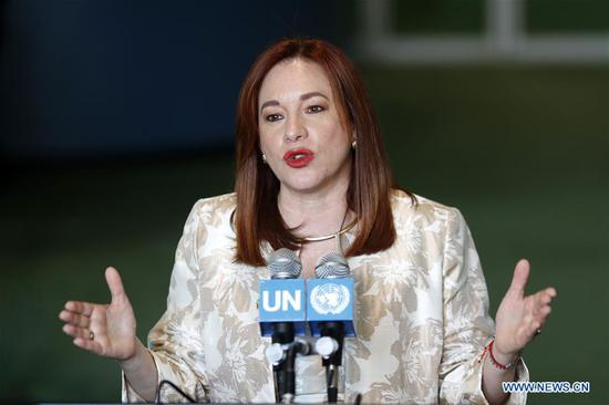 Maria Fernanda Espinosa Garces, president-elect of the 73rd session of the United Nations General Assembly, speaks to journalists during a press encounter at the UN headquarters in New York, on June 5, 2018.  (Xinhua/Li Muzi)